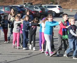 Newtown CT Elementary School Shooting image of students walking